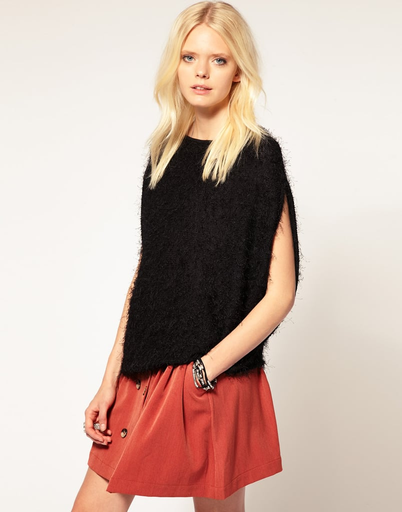 Come colder weather, layer this fuzzy sweater over a long-sleeved top.  ASOS Fluffy Knit Sweater ($119)