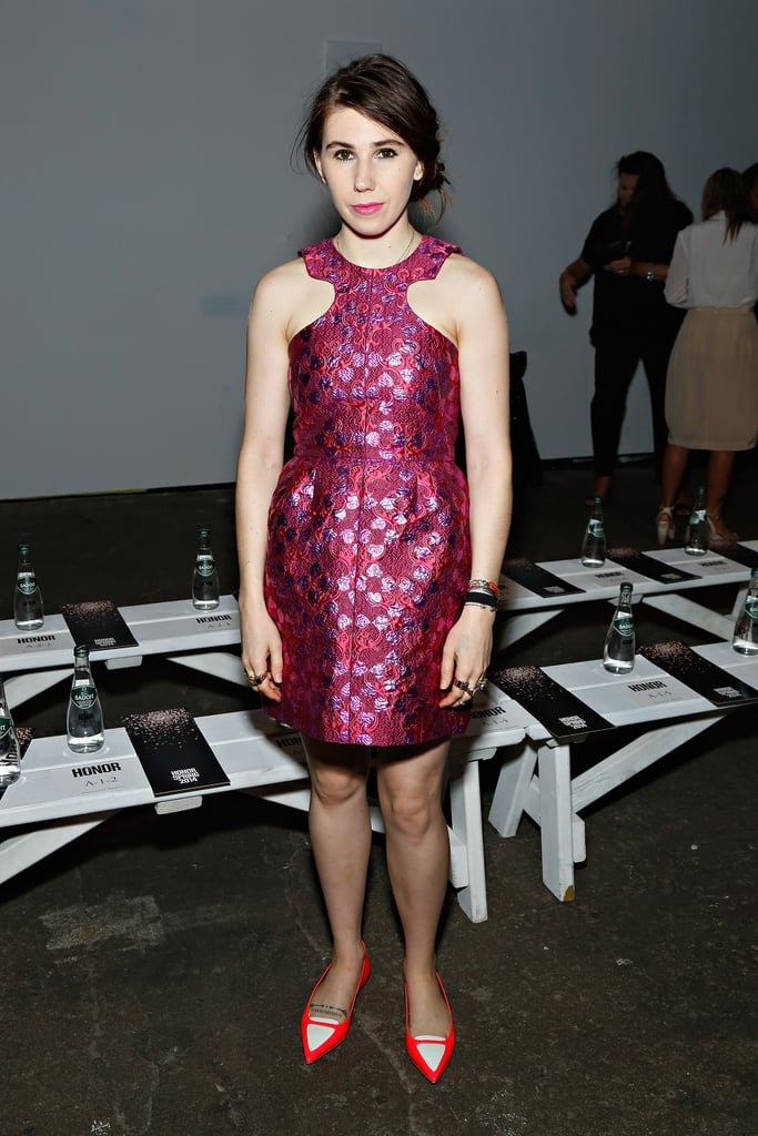 Girls actress Zosia Mamet matched a pink brocade Honor dress with two-tone pointy flats at the Honor show.