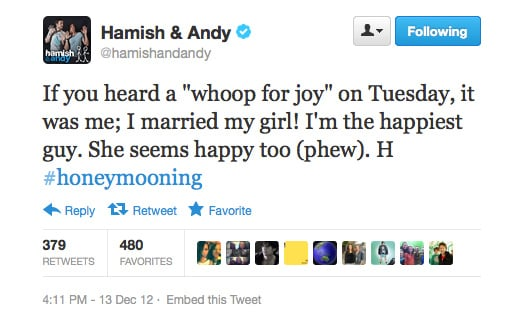 Congrats to Hamish! We're so happy for him and his beautiful bride.
