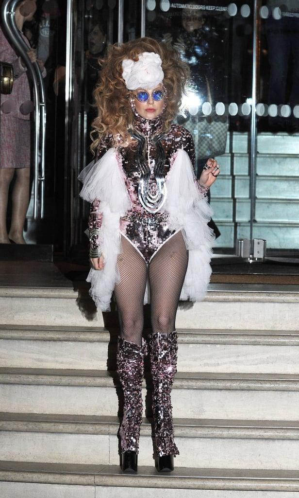 Lady Gaga in Sequined Bodysuit in London in 2013