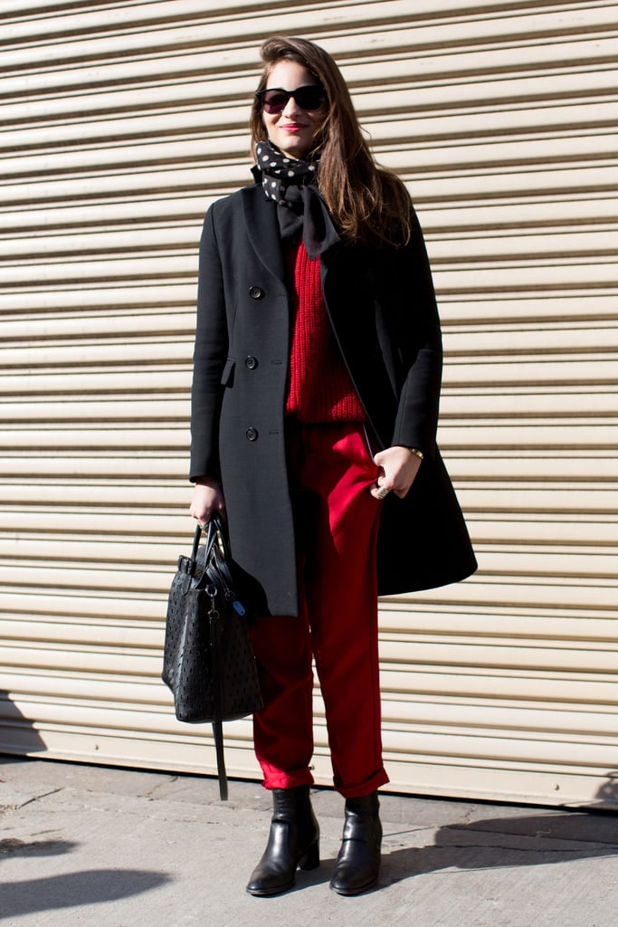 Maria Duenas worked a bold red and black palette.