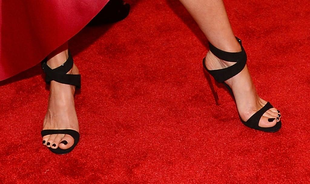Kate Beckinsale wore strappy Edie Parker heels.