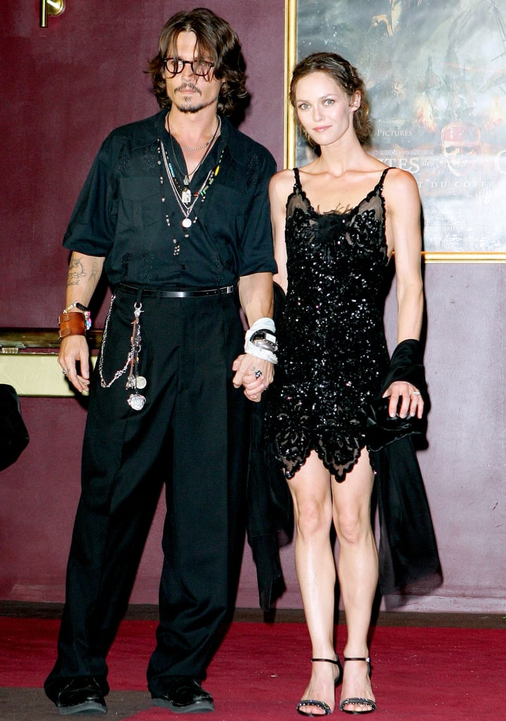 Johnny Depp and Vanessa Paradis went to the Paris premiere of Pirates of the Caribbean: Dead Man's Chest in July 2006.