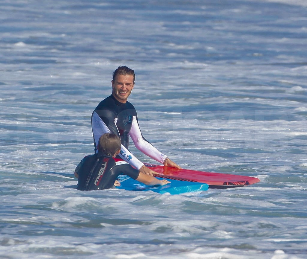 David Beckham Rides the Waves With Brooklyn and Wants Another Kid