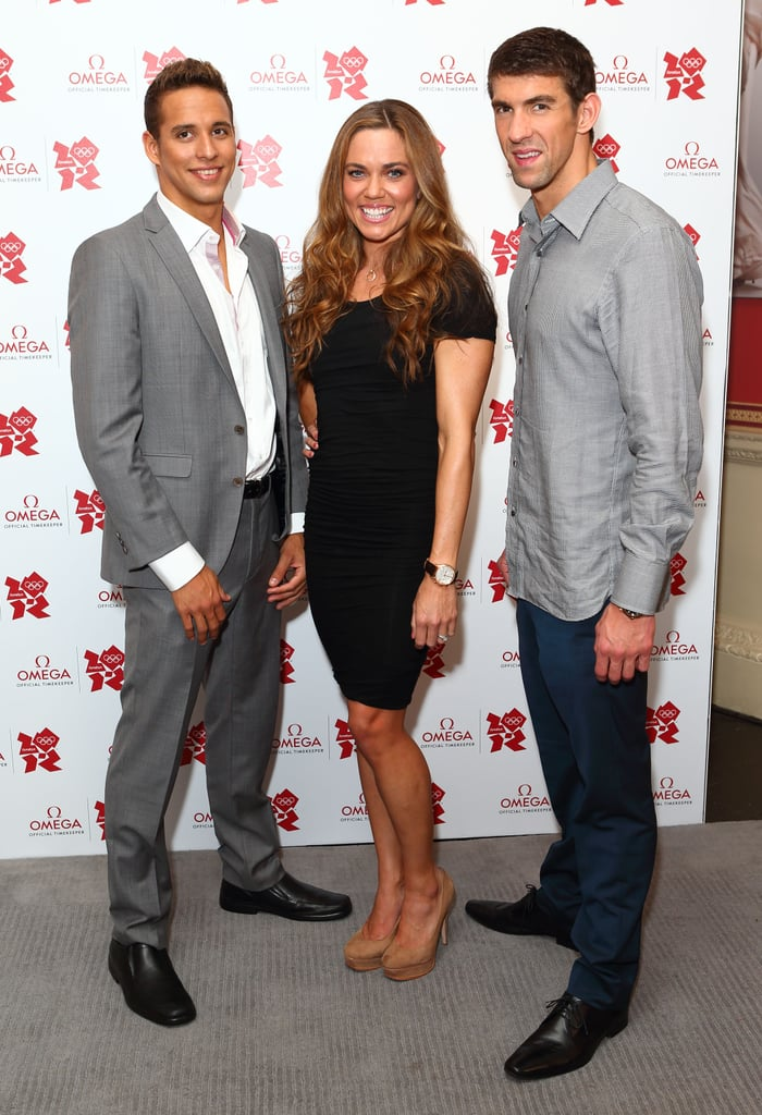 Michael Phelps hit the carpet of the Omega House's Spotlight on Swimming party in London with Natalie Coughlin and Chad Le Clos.