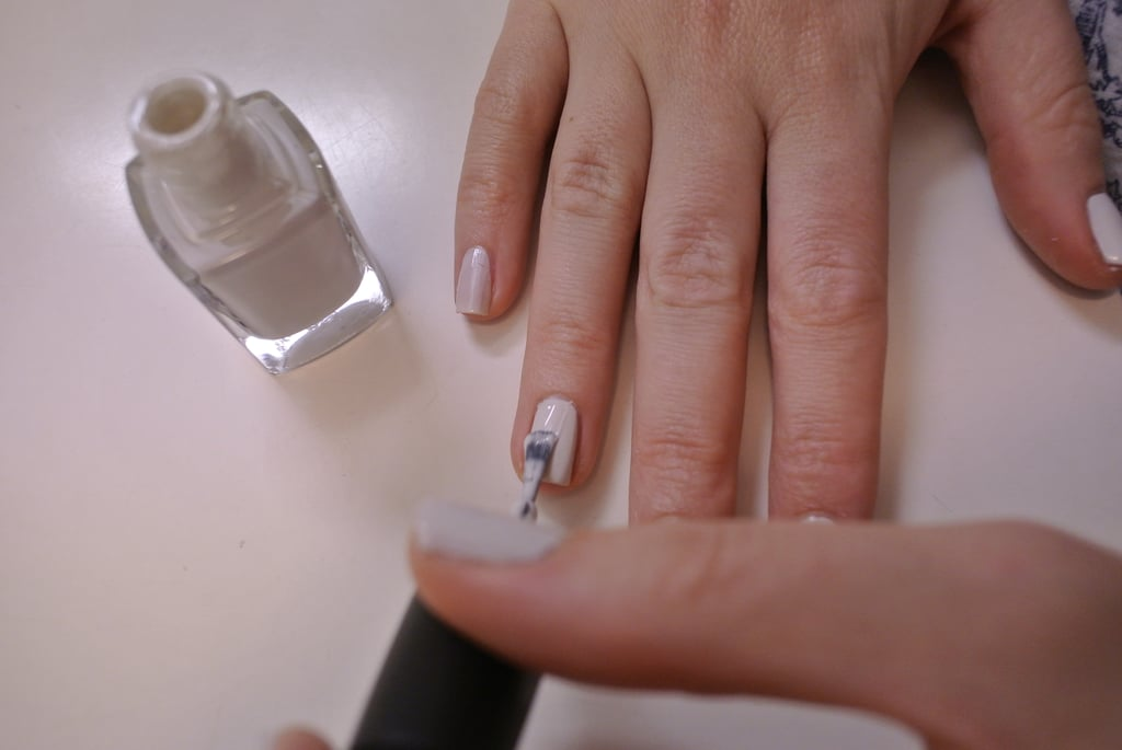 I did two coats of the white, and made sure I was ready to apply the bling straightaway — you have to apply when the nail is semi-wet. It's sort of a fine line, but you can't go too wrong...