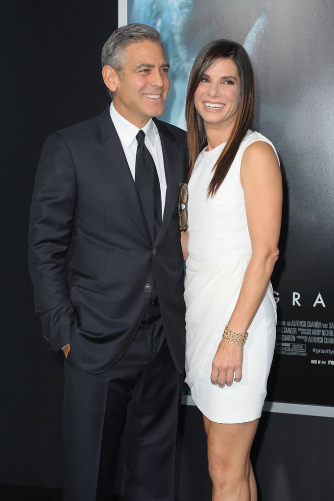 Sandra Bullock shared a laugh with costar George Clooney.