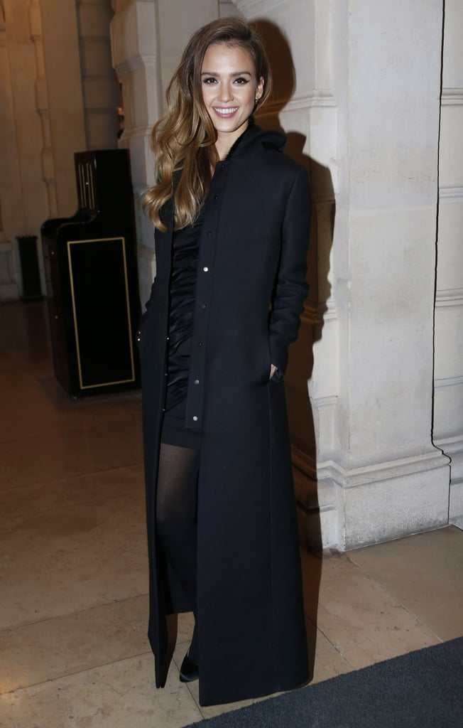 Jessica Alba posed before heading into the CR Fashion Book party on Tuesday in Paris.