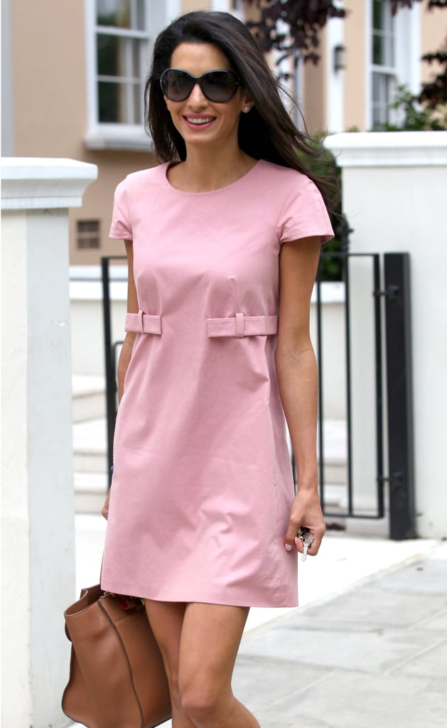 George Clooney's fiancée, Amal Alamuddin, looked pretty in pink out in London on Tuesday.