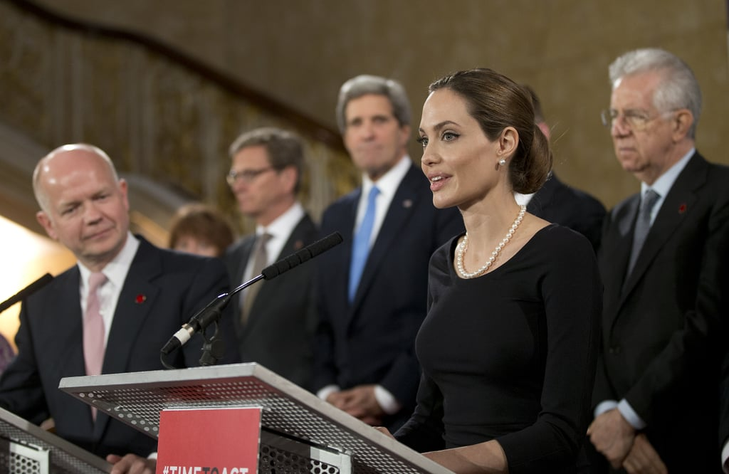 Angelina Jolie traveled to London to attend the G8 summit, where she addressed a crowd of world leaders about wartime sexual assault victims.