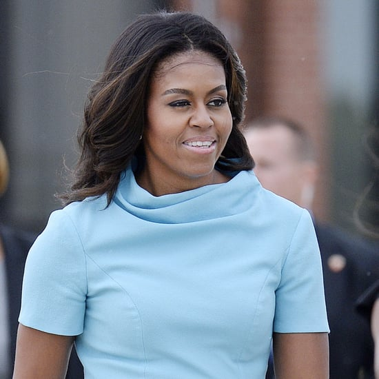 Michelle Obama Wearing Blue Carolina Herrera Dress