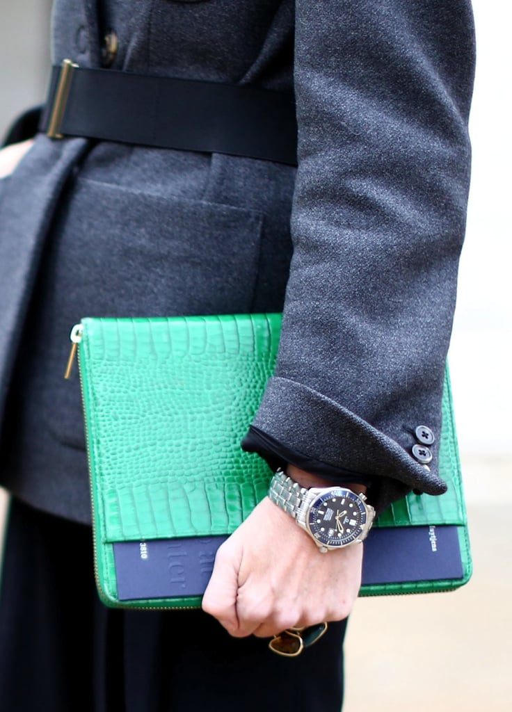 iPad case or clutch? This bright green clutch was the perfect double-duty piece.
