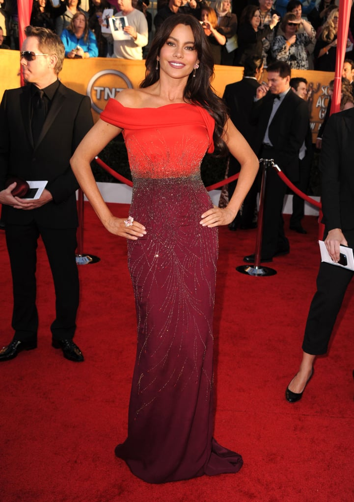 At the 2012 SAG Awards, Vergara wowed in an ombré embellished Carolina Herrera gown with a subtly sexy off-the-shoulder neckline.