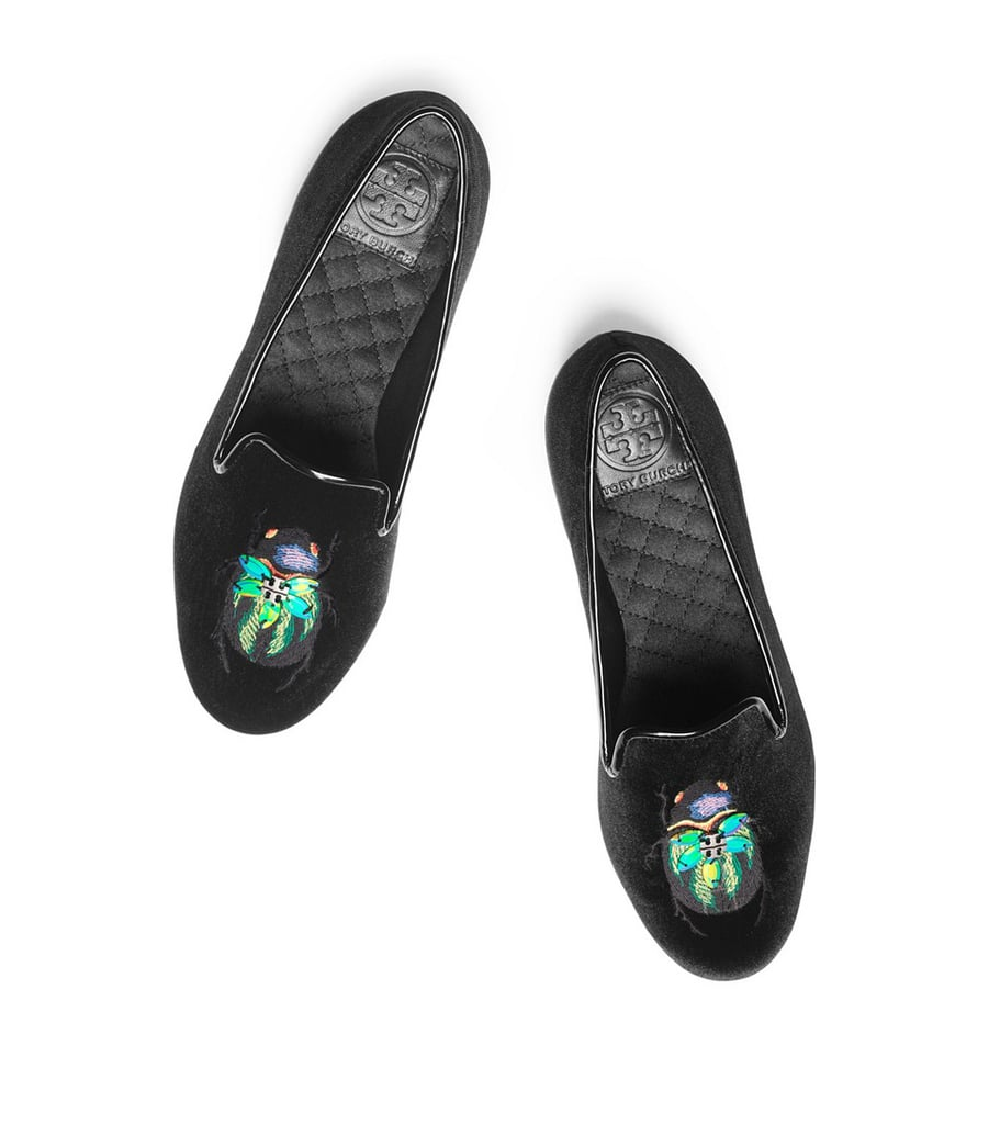 Tory Burch Velvet Beetles Smoking Slippers