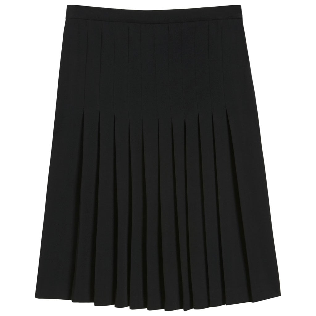 . . . paired with a chic pleated skirt ($850) from the label.