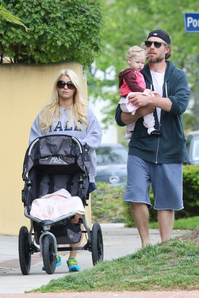 Jessica Simpson and Eric Johnson took their daughter, Maxwell, for a Sunday stroll in LA.