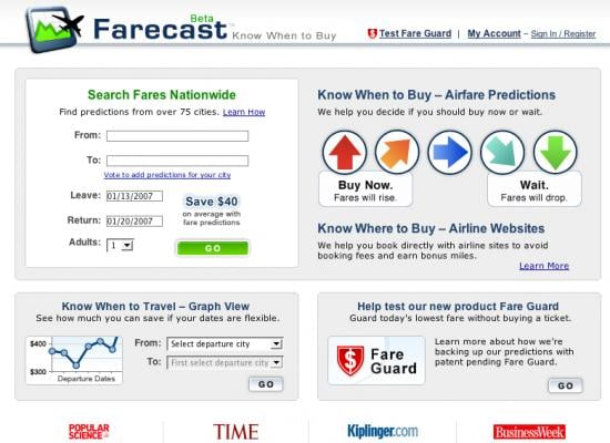 Farecast Predicts Then Finds Flight Costs