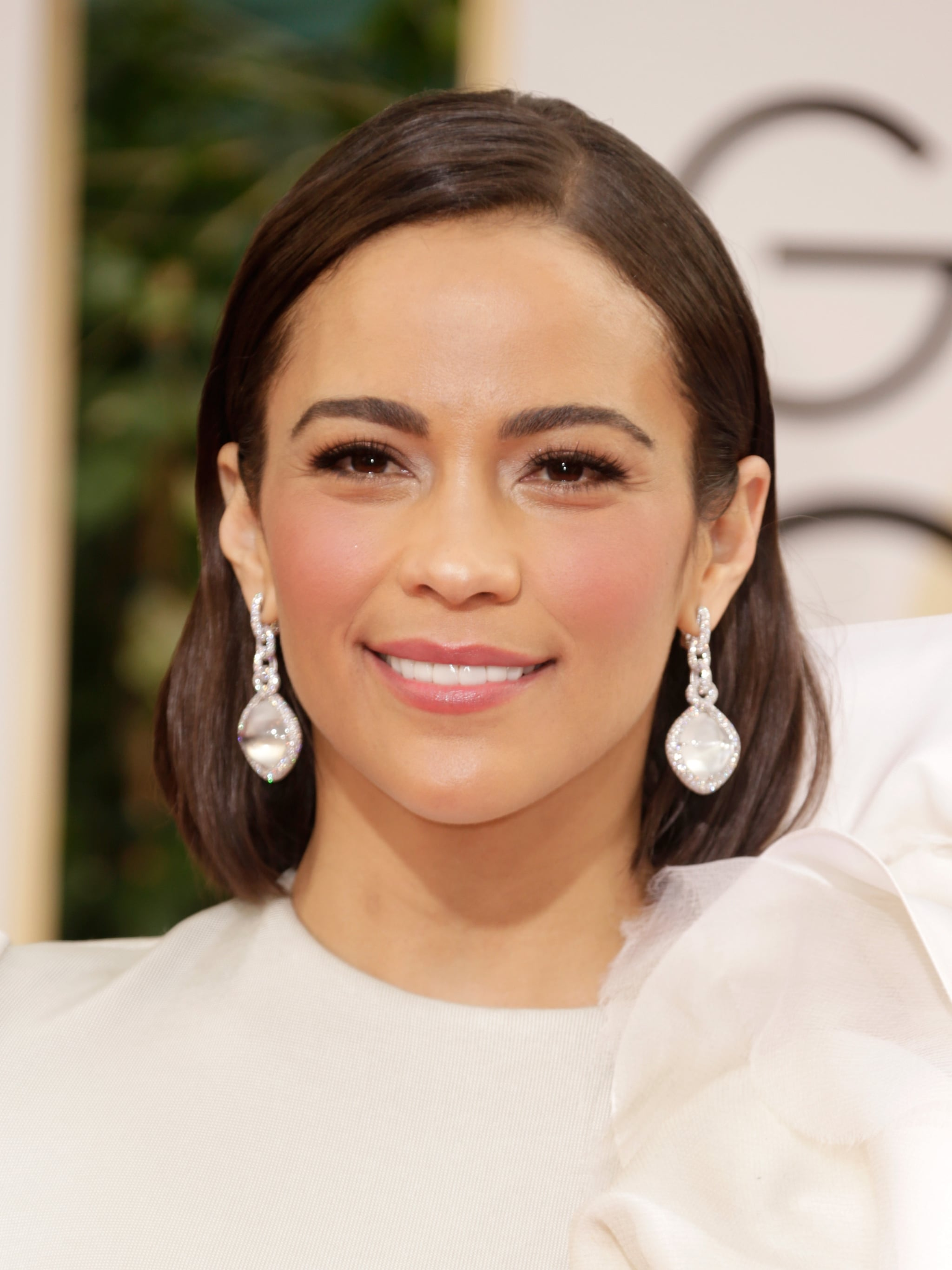 Paula Patton's David Yurman High Jewelry white diamond and moonstone earrings were a perfect match for her creamy white gown.