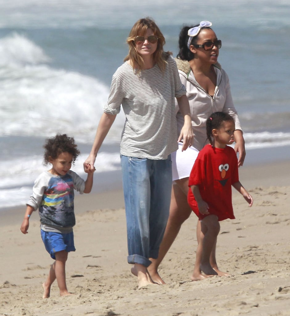 Ellen Pompeo took her daughter, Stella Ivery, to the beach in LA with friends on Sunday.
