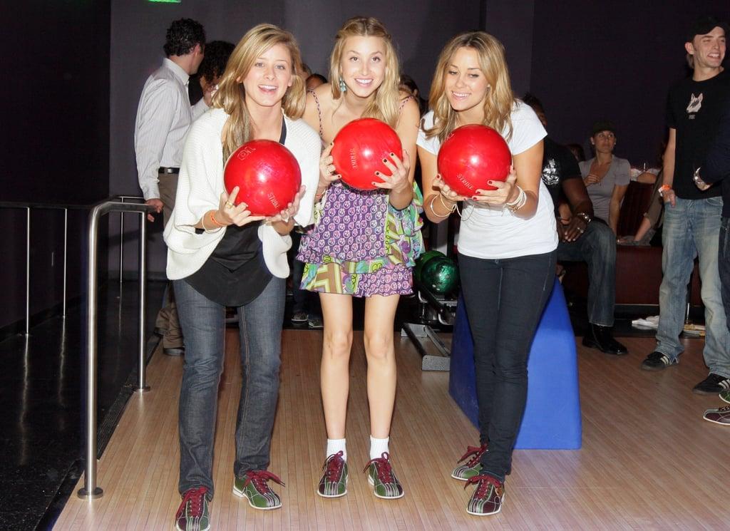 Lo Bosworth, Audrina Patridge, and Lauren Conrad hit the lanes in Orange County in June 2008.