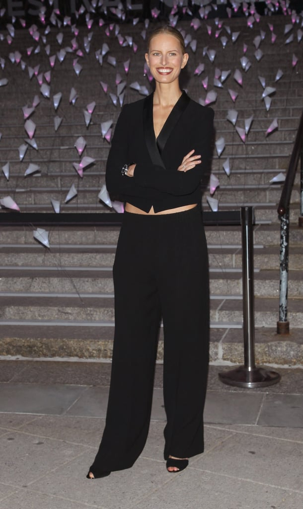 Karolina Kurkova wore a black suit to Vanity Fair's Tribeca Film Festival party.