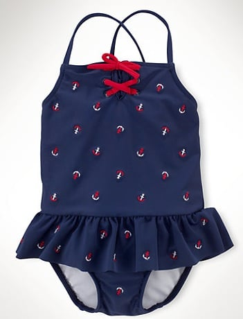 For Baby Girls: Ralph Lauren Anchor Schiffli One-Piece