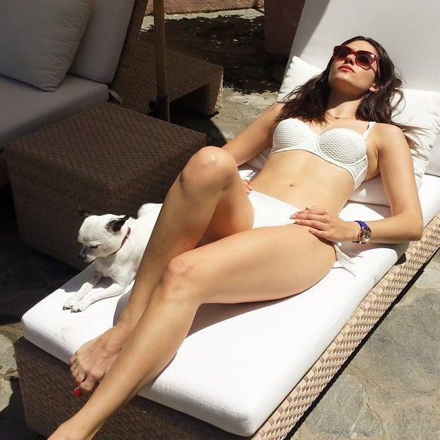 Emmy Rossum showed off her bikini body. Source: Instagram user emmyrossum