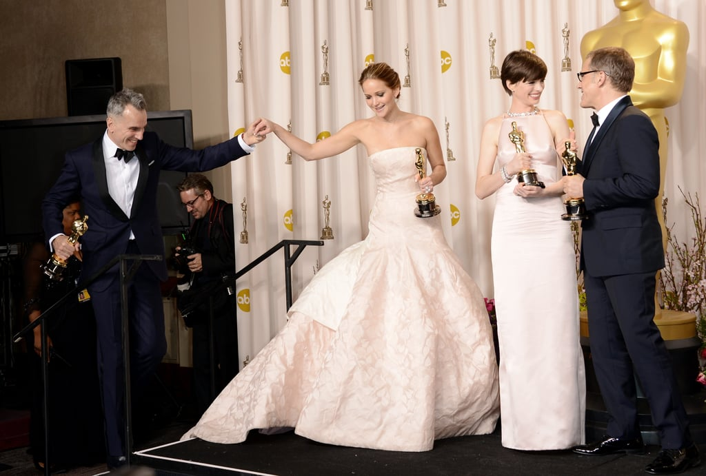 Daniel Day-Lewis, Jennifer Lawrence, Anne Hathaway and Christoph Waltz celebrated their Oscar wins in the press room.