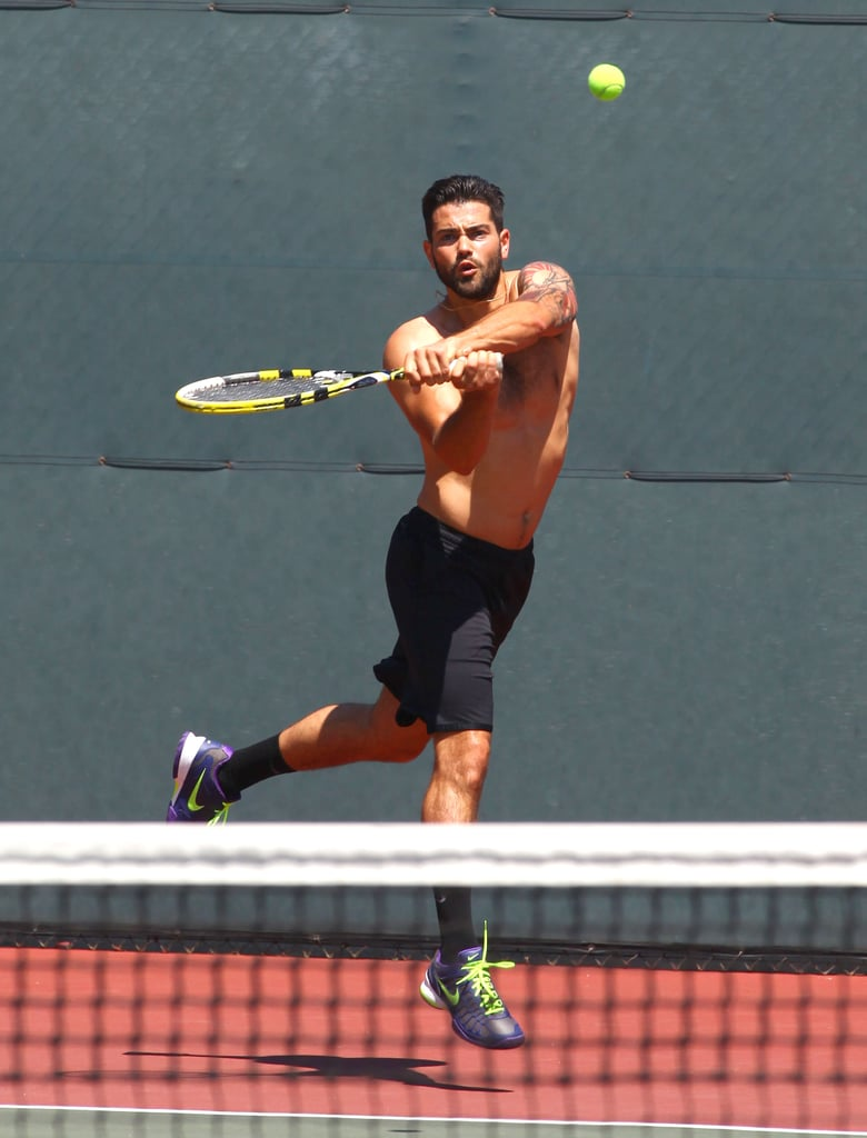 Jesse Metcalfe played tennis sans shirt during a July day in LA.
