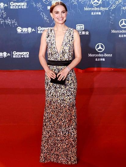 Natalie Portman Looks Elegant in Refined Patterned Gown at Beijing Film Festival