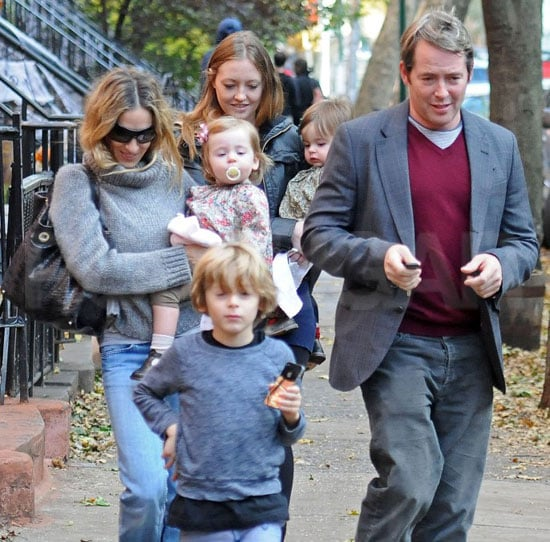 Pictures of Sarah Jessica Parker, James Wilkie, Matthew Broderick, Marion, and Loretta in NYC