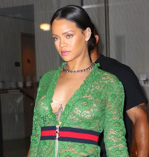 Rihanna out in New York in green Gucci dress that Julia Roberts wore last year