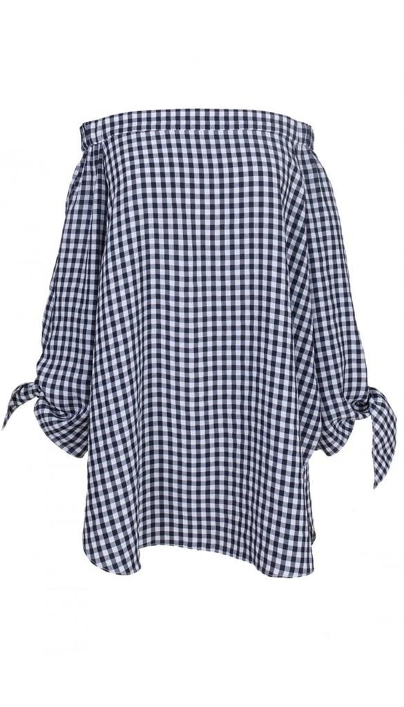 Tibi Gingham Off-the-Shoulder Tunic ($354)