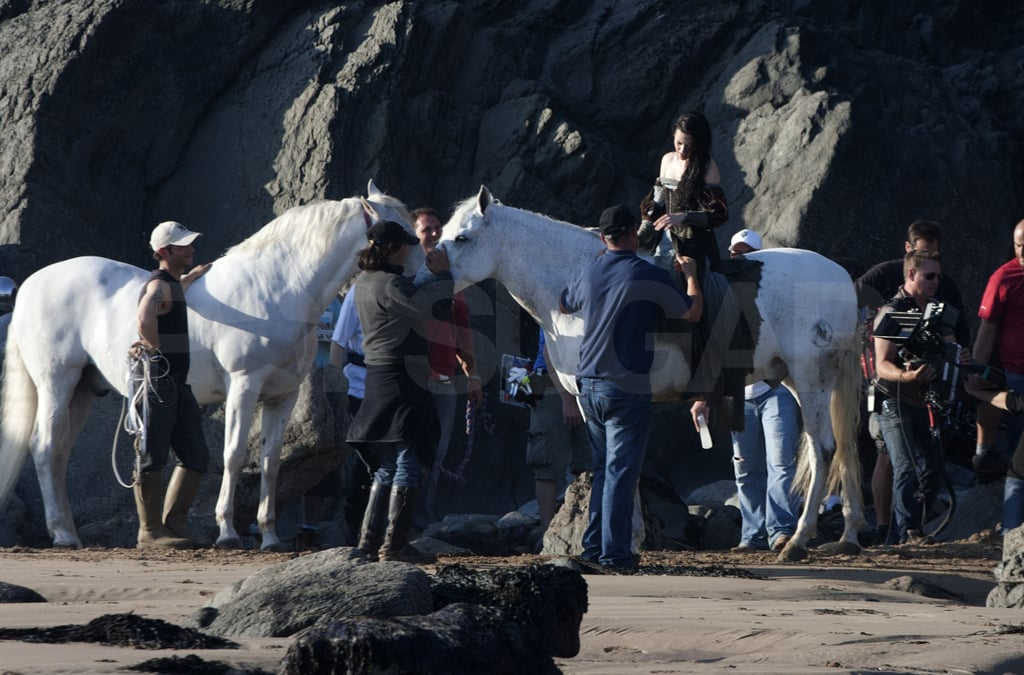 There were two white horses on hand on the set of Snow White and the Huntsman.