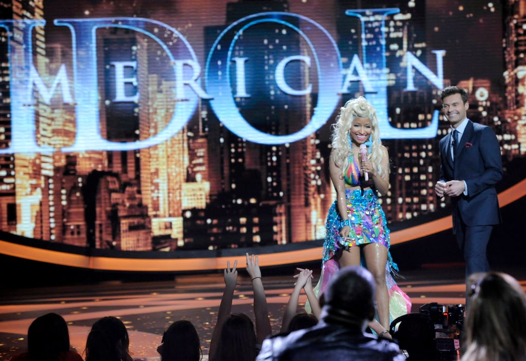 Nicki Minaj was greeted by Ryan Seacrest as she performed at American Idol.