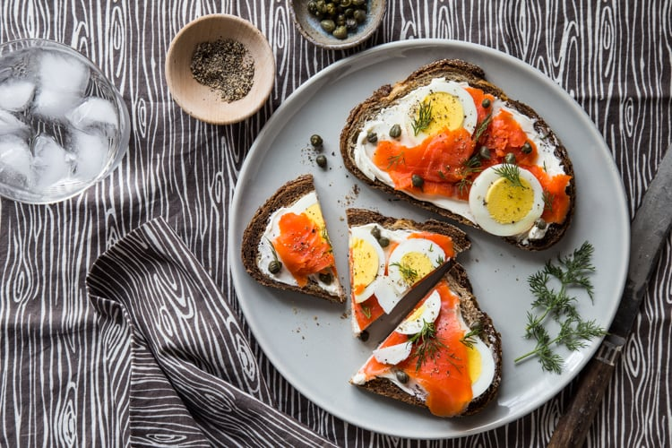 Smoked Salmon and Hard-Boiled Egg Toast