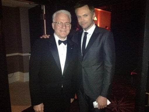 Joel McHale posed with Steve Martin at the Costume Designers Guild Awards. Source: Twitter user SteveMartinToGo