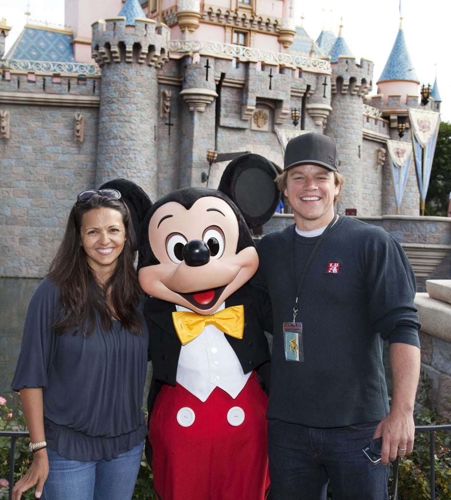 Matt and Luciana Damon posed with Mickey Mouse during an April 2011 trip to Disneyland.