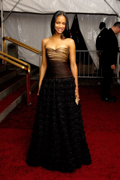 Zoe wore a brown embellished gown to the AngloMania-themed Costume Institute Gala in '06.