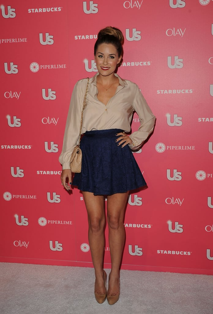 Lauren hit the red carpet at the Us Weekly Hot Hollywood Party in April 2011 wearing a Paper Crown blouse and flared navy skirt teamed with a nude Chanel bag and Christian Louboutin heels.