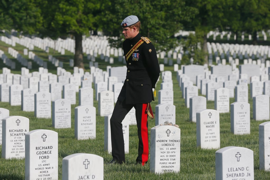 Prince Harry paid his respects to fallen US soldiers.