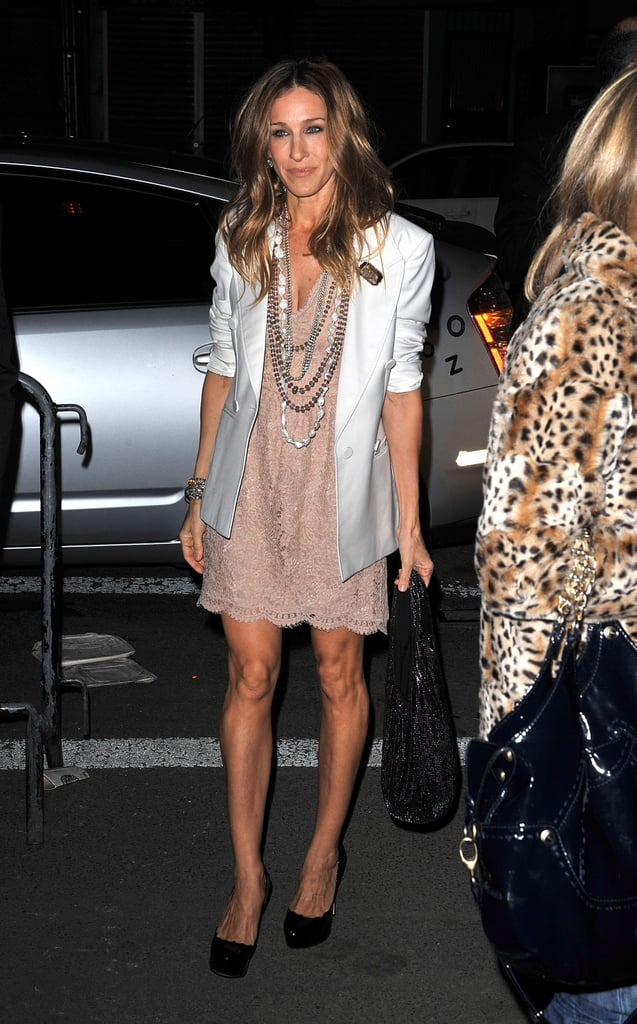 Sarah Jessica Parker hit the NYC streets in a blush scalloped lace dress and crisp white blazer, both by Stella McCartney, and a bevy of beaded necklaces in March 2010.