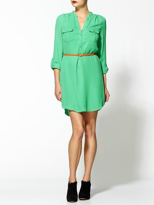 This is the prettiest shade of bright green. It goes well with different skin tones and will transition easily into cold-weather scenarios.  Boundary & Co. Mint Belted Shirt Dress ($79)