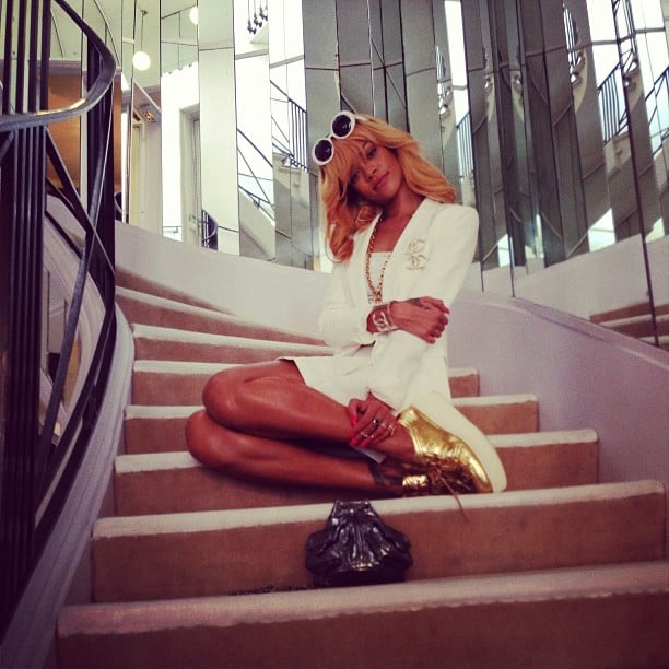Rihanna posed on the infamous staircase at Coco Chanel's home in Paris. Source: Instagram user badgalriri