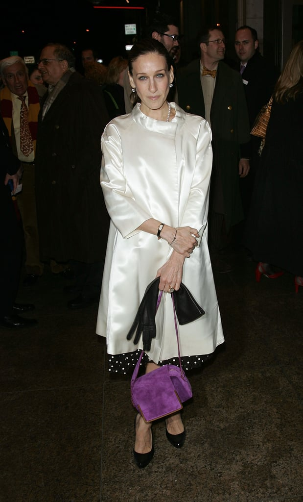 For a 2009 Broadway outing, Parker kept it classic in a polka-dot dress, satin overcoat, and long leather gloves, then injected a pop of flair via a purple suede bag.