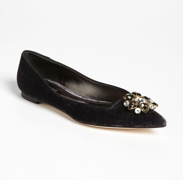 For the ultimate luxurious party flat, look no further than Dolce & Gabbana's jeweled, velvet pair ($695).