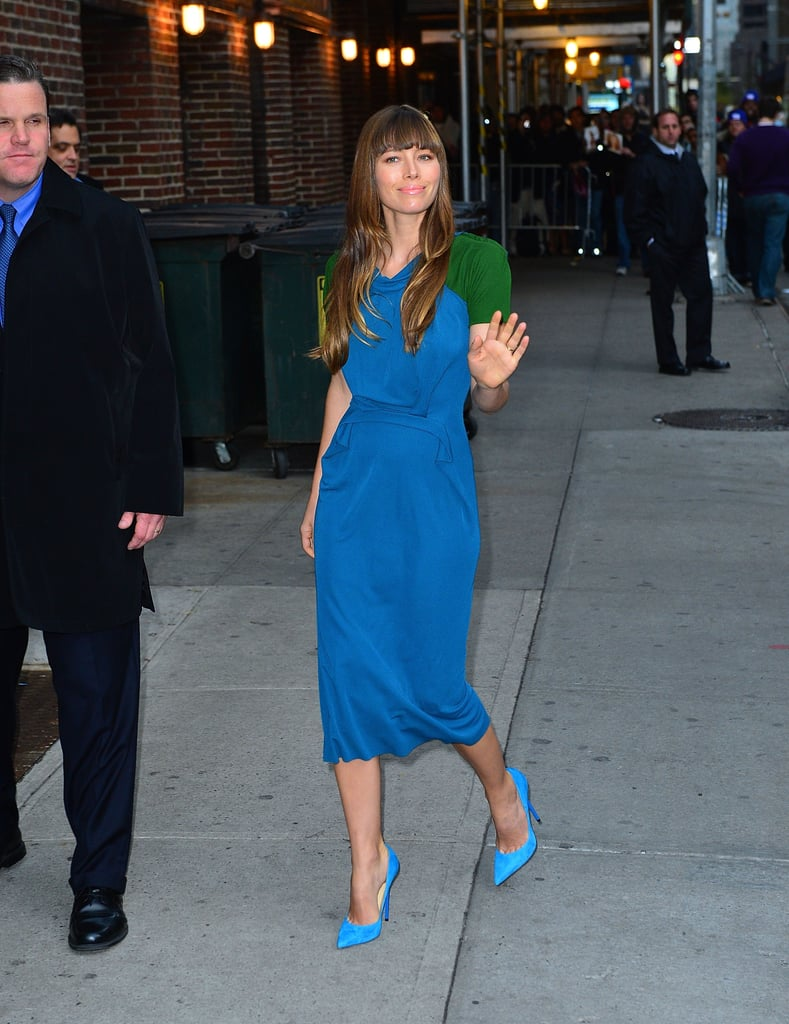 Jessica Biel arrived at the Late Show to promote her new film, Hitchcock.