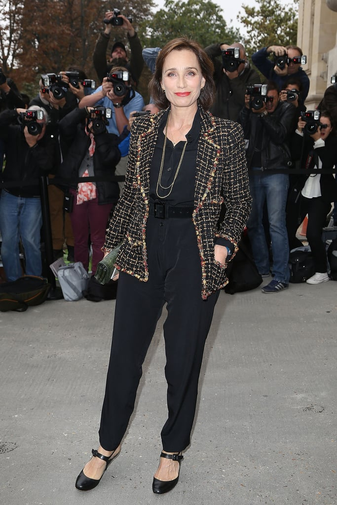 Kristin Scott Thomas wore black to the Chanel Spring 2014 show.