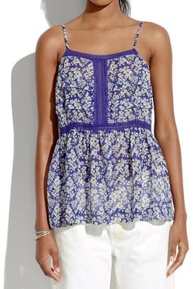 Madewell Silk Printed Peplum Top