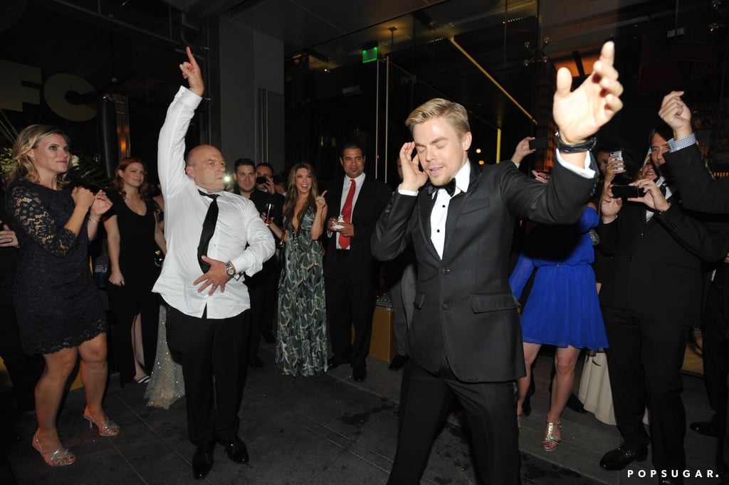 After winning the Emmy for best choreography, Derek Hough got involved in a pretty impressive dance-off with Breaking Bad actor Dean Norris during the AMC afterparty.